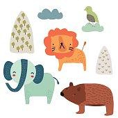 Elephant Lion Bear Bird Cartoon Set, Vector illustration