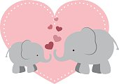 Elephant Mama and Baby with Hearts