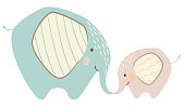Elephant mom and baby cute print. Sweet animal family