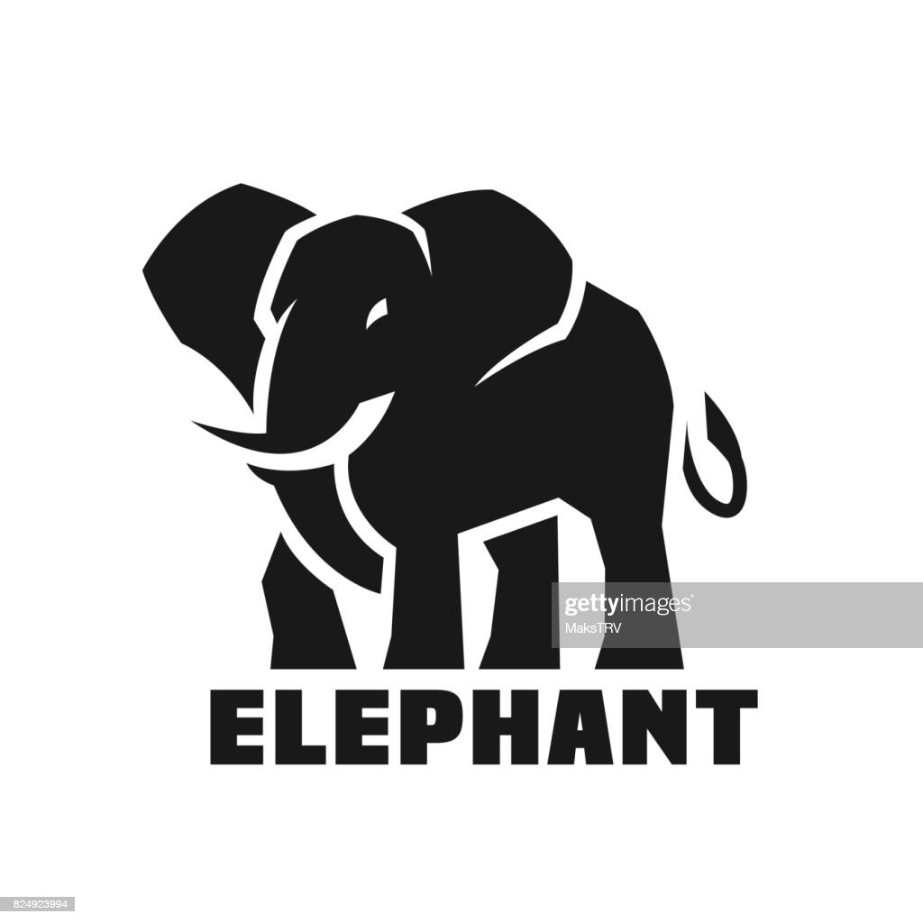 Elephant. Monochrome icon.