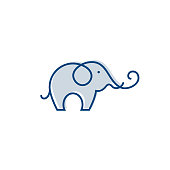 Elephant outline logo, simple vector illustration of the elephant. Elegant one line lucky elephant for children ur business usage. Outlined baby elephant, wildlife or zoo