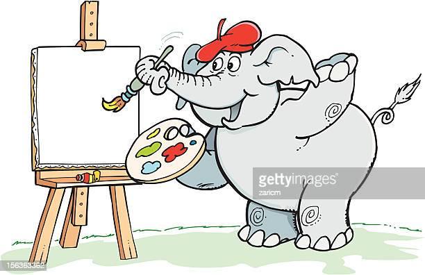 illustrazioni stock, clip art, cartoni animati e icone di tendenza di elefante pittore - pittore