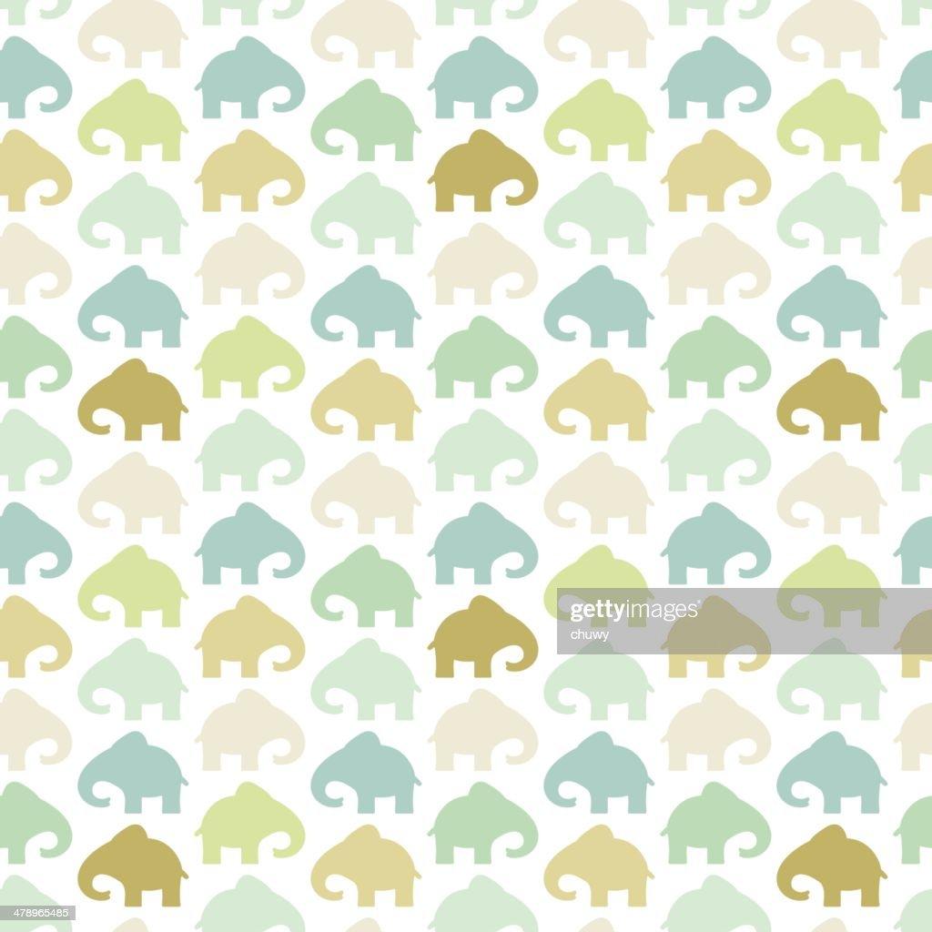 Elephant seamless pattern retro