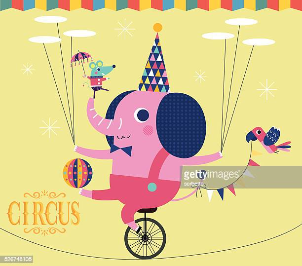 elephant show - unicycle stock illustrations, clip art, cartoons, & icons