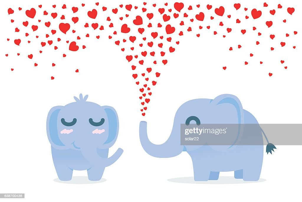 Elephant spraying many heart out of nose for flirt.