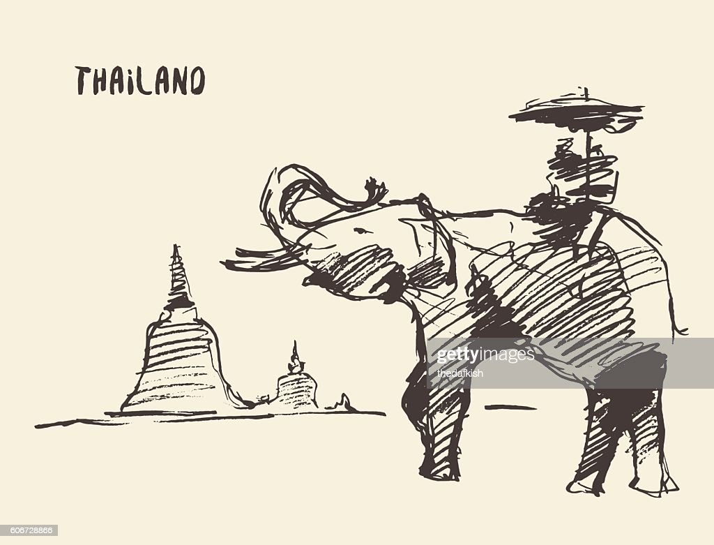 Elephant temple thailand vector illustration.