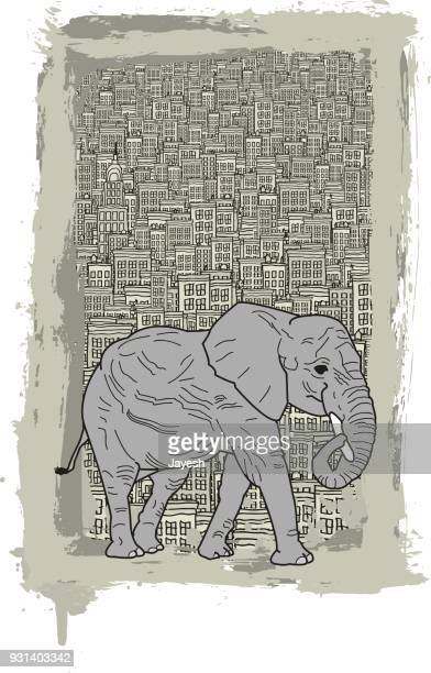 elephant walking in a concrete jungle - cartoon characters with big noses stock illustrations, clip art, cartoons, & icons