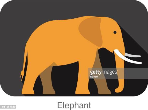 ilustraciones, imágenes clip art, dibujos animados e iconos de stock de elefante a lado 3d icono de diseño plano - elefante
