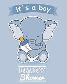 Elephant with baby bottle. baby boy