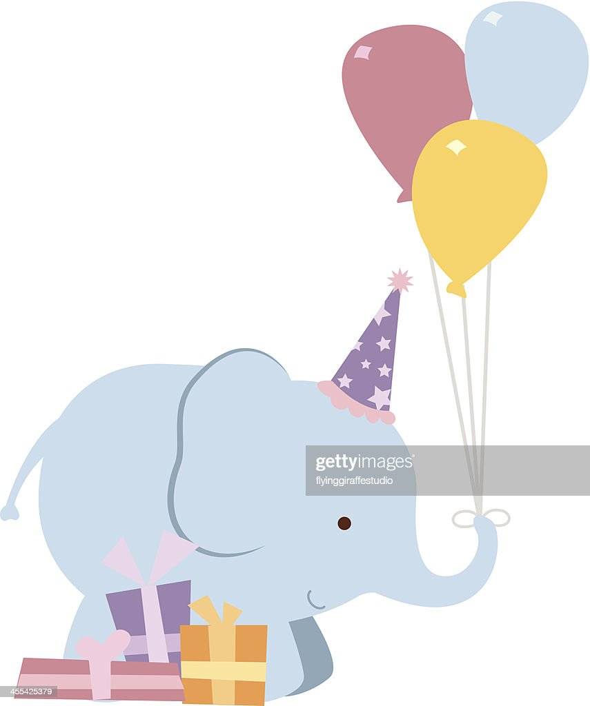 Elephant with Balloons and Presents