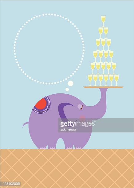 Elephant with tray of glasses
