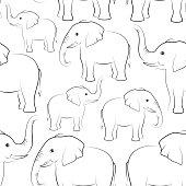 Elephants Contours, Seamless