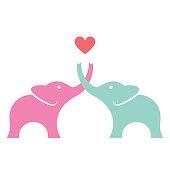 Elephants in love - VECTOR