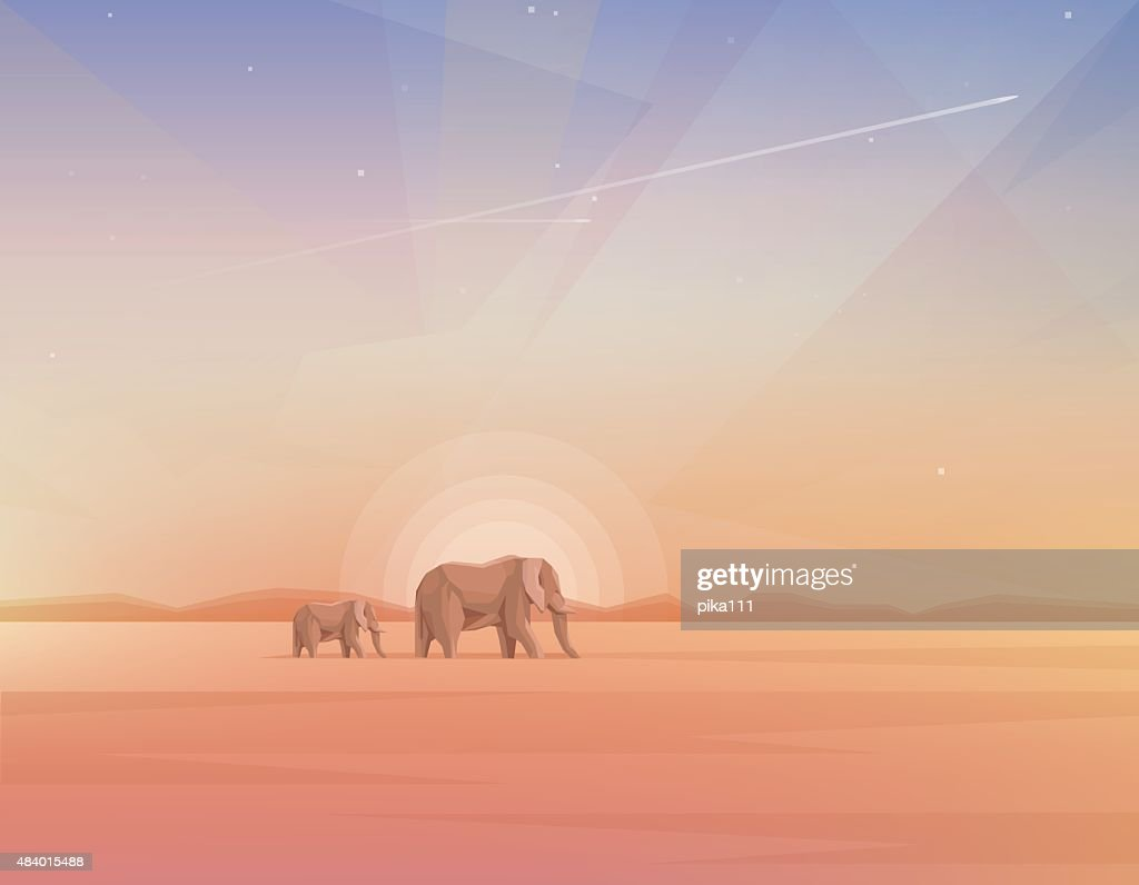 Elephants journey through desert landscapes of Africa vector illustration
