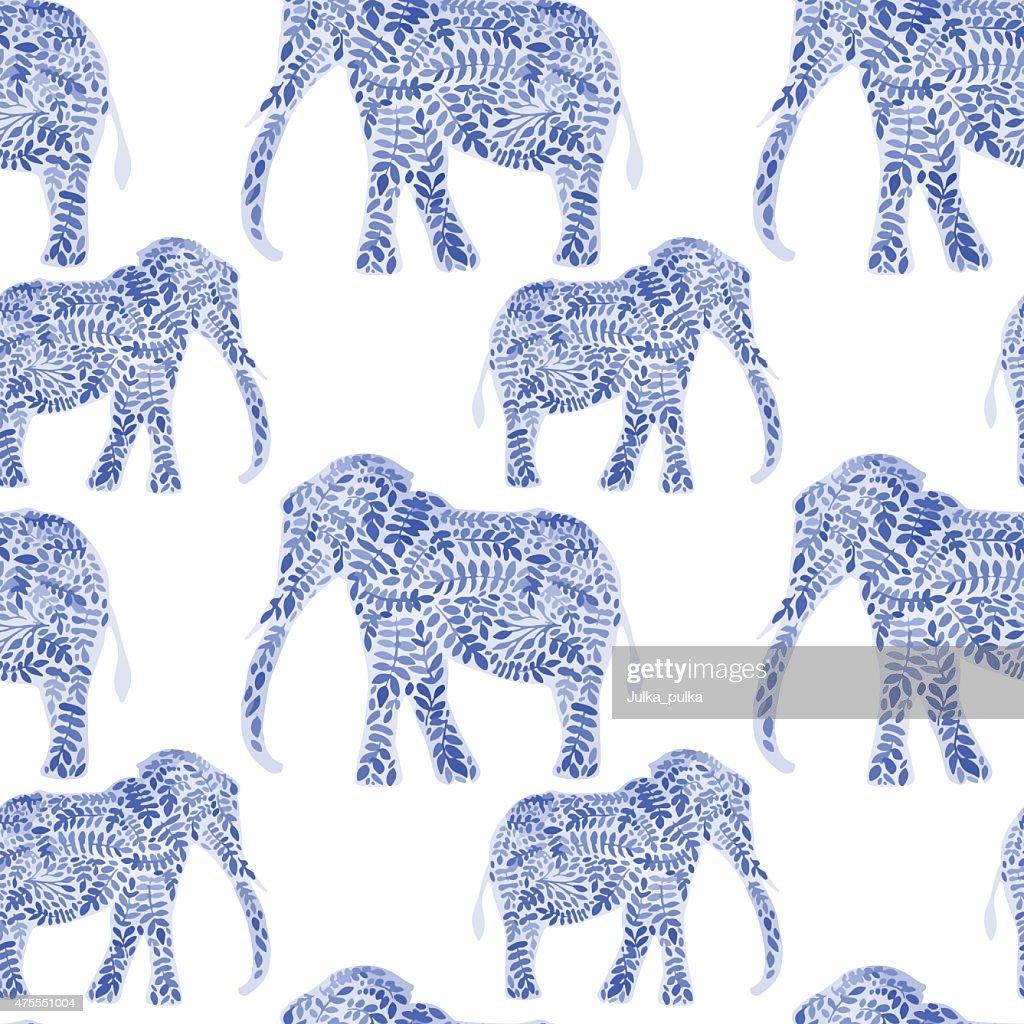 Elephants seamless watercolor background. Elephant seamless pattern background vector illustration