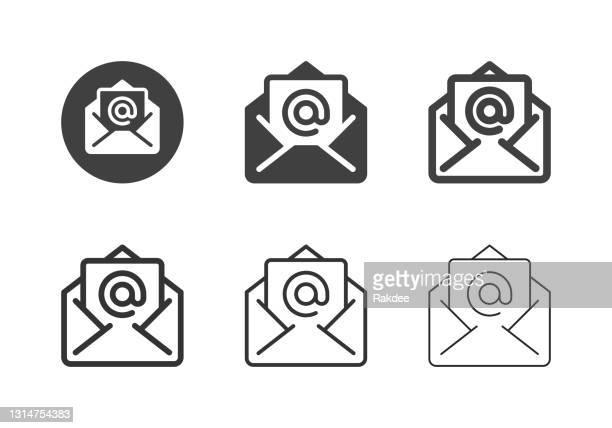 stockillustraties, clipart, cartoons en iconen met e-letter iconen - multi series - e mail