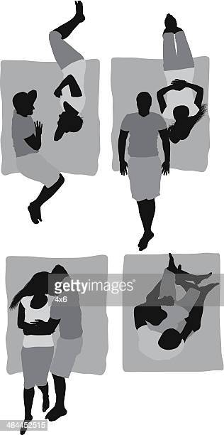 elevated view of a romantic couple - picnic blanket stock illustrations, clip art, cartoons, & icons