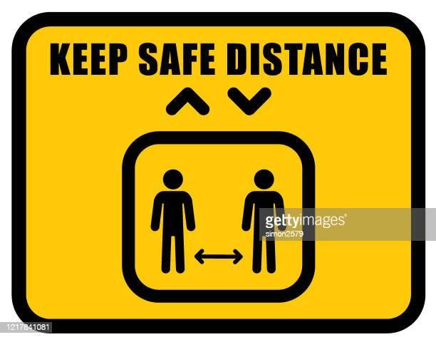 社会的な離散のためのエレベーターのアイコンの看板 - 社会距離戦略点のイラスト素材/クリップアート素材/マンガ素材/アイコン素材