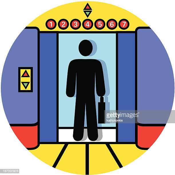 elevator icon - job interview stock illustrations, clip art, cartoons, & icons