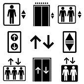 Elevator set icon, logo isolated on white background