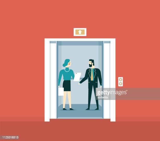 ilustrações, clipart, desenhos animados e ícones de conversa de elevador - elevador