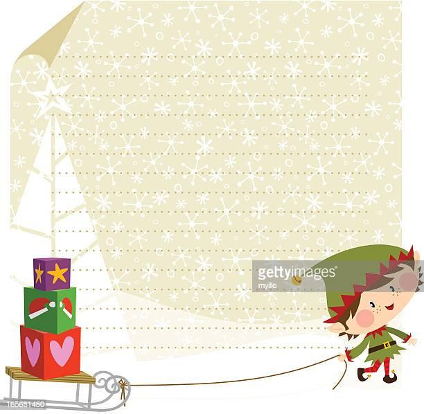Elfe et cadeaux de Noël. Carte de Noël, design