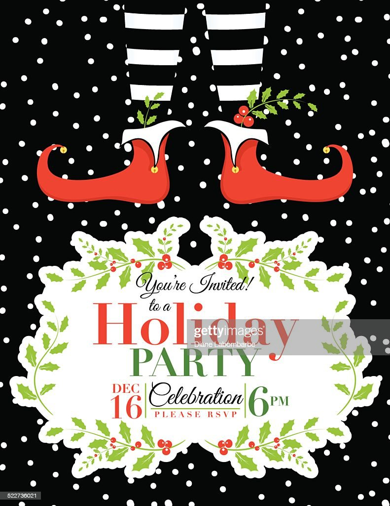 Christmas Invitation Templates.Elf Christmas Party Invitation Template High Res Vector