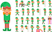 Elf Girl Christmas Santa Claus Helper in Different Poses and Actions Teen Characters Icons Set New Year Gift Holiday Flat Design Vector Illustration