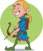Elf with bow and arrow. Эльф с луком и стрелами.