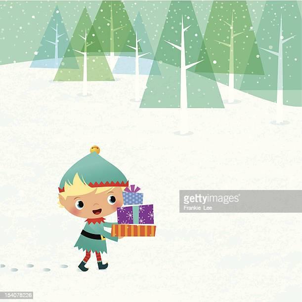 illustrations, cliparts, dessins animés et icônes de elfe avec cadeaux - lutin