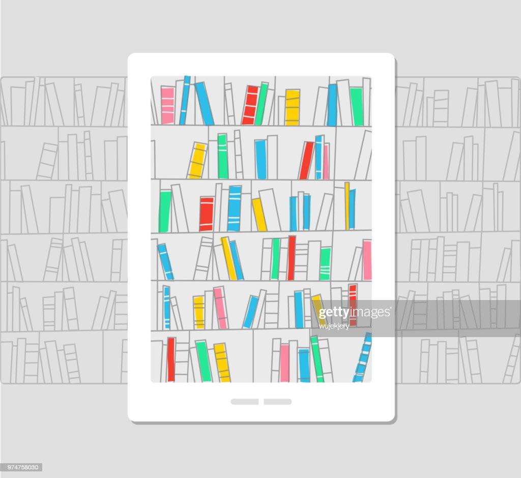 e-bibliotek, ebook, konceptet illustration : Illustrationer