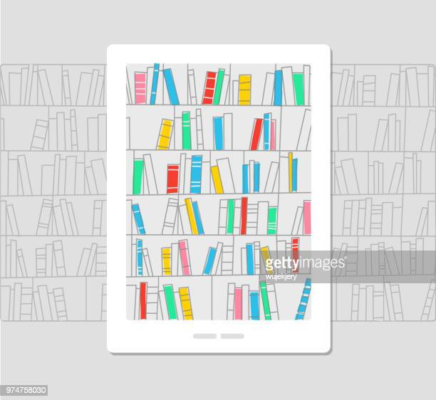 e-library, ebook, concept illustration - library stock illustrations