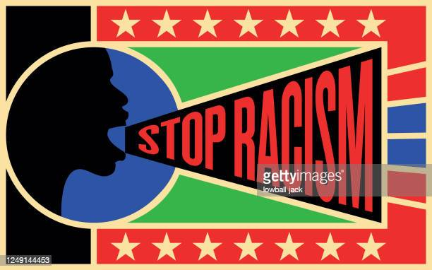 eliminate racial discrimination, stop racism rodchenko constructivist poster. vector stock illustration. - social justice concept stock illustrations