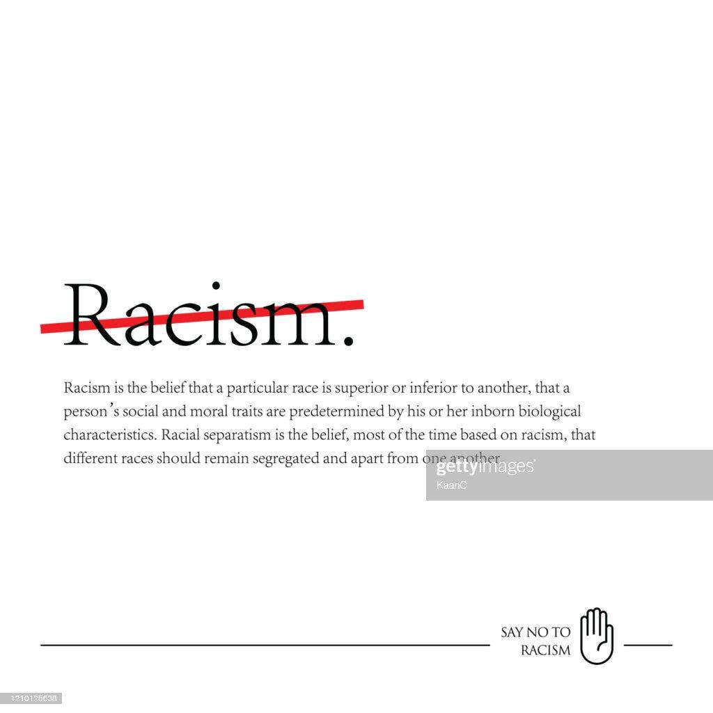 Elimination of Racial Discrimination stock illustration, No to Racism : Stock Illustration