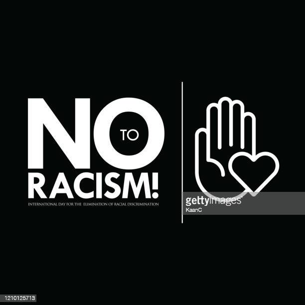 illustrazioni stock, clip art, cartoni animati e icone di tendenza di illustrazione stock eliminazione della discriminazione razziale, no al razzismo - giustizia sociale