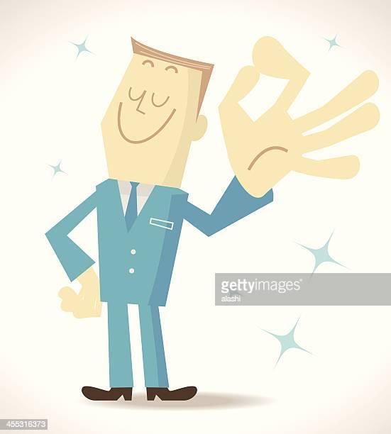 elite man gesturing ok - inspector stock illustrations, clip art, cartoons, & icons