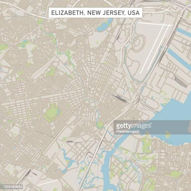 Elizabeth, New Jersey USA Stadtstraße Karte