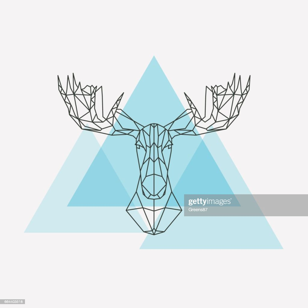 Elk head geometric lines silhouette isolated on white background. Vector design element illustration.