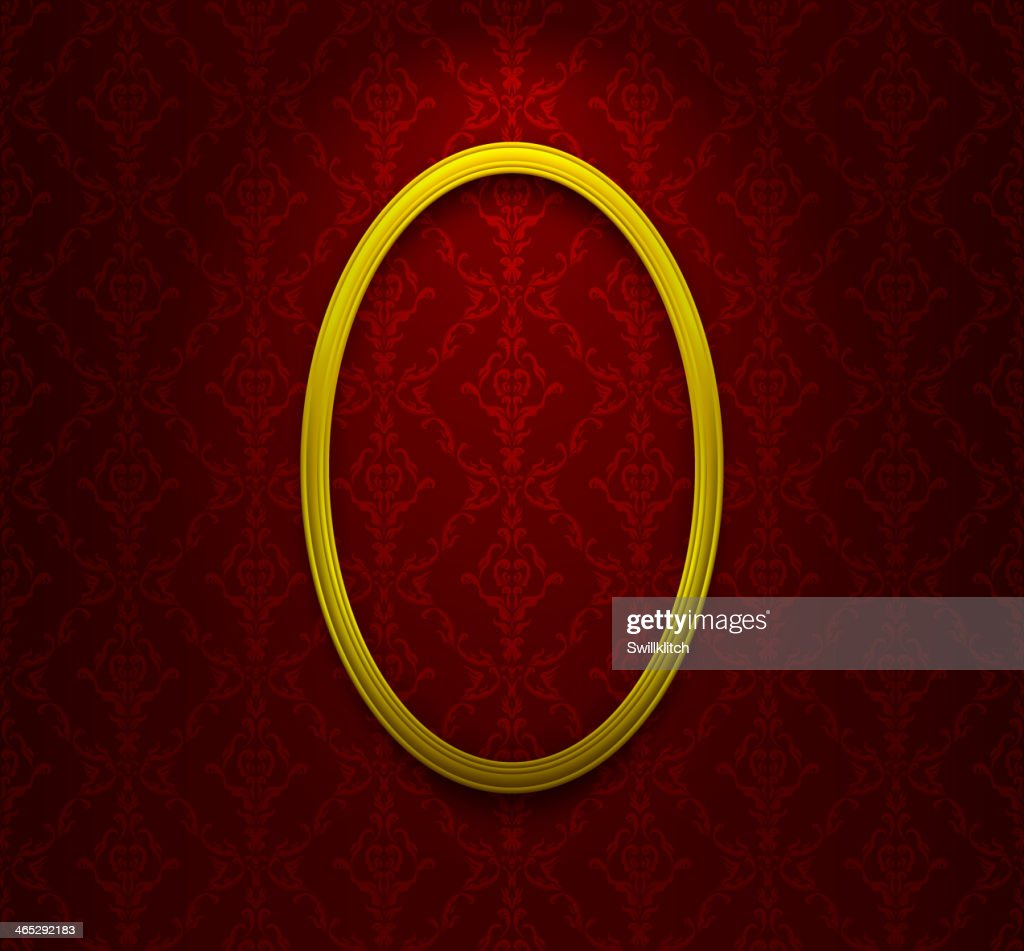 Elliptic frame on red wallpaper