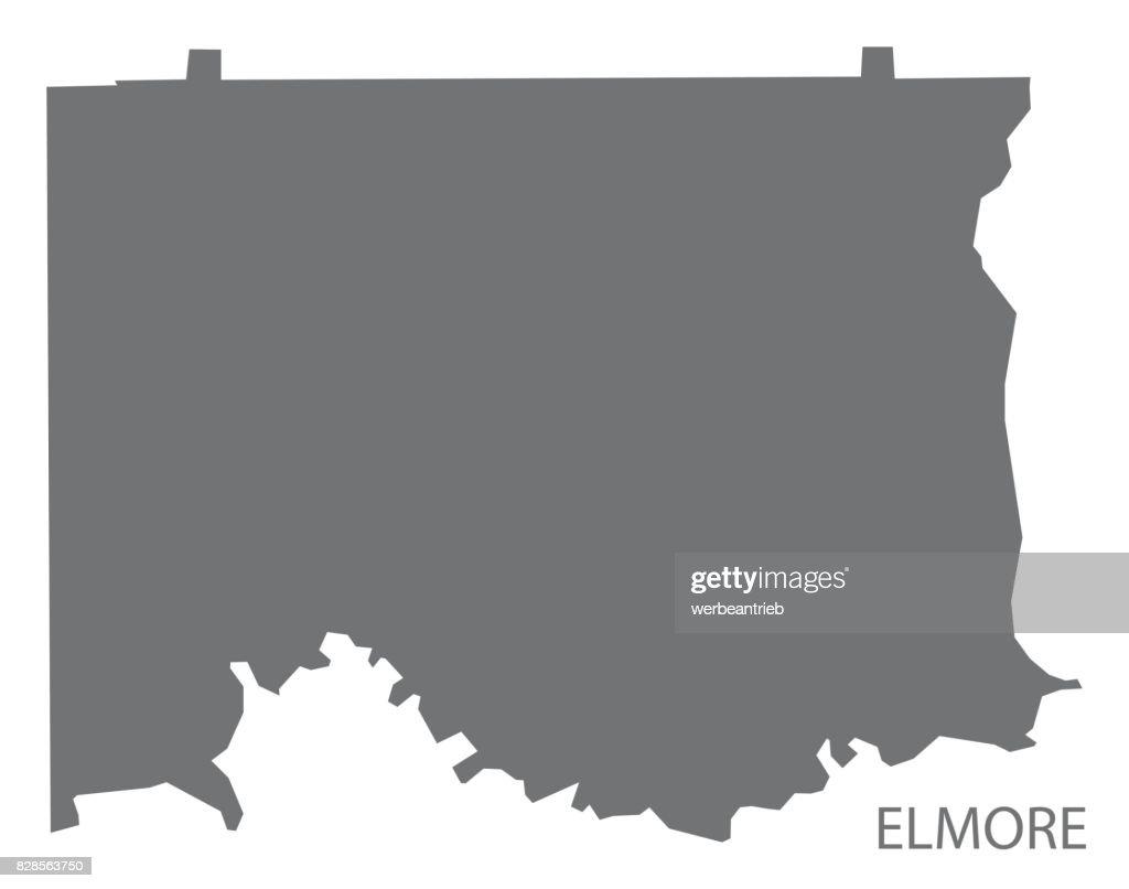 Elmore county map of Alabama USA grey illustration silhouette