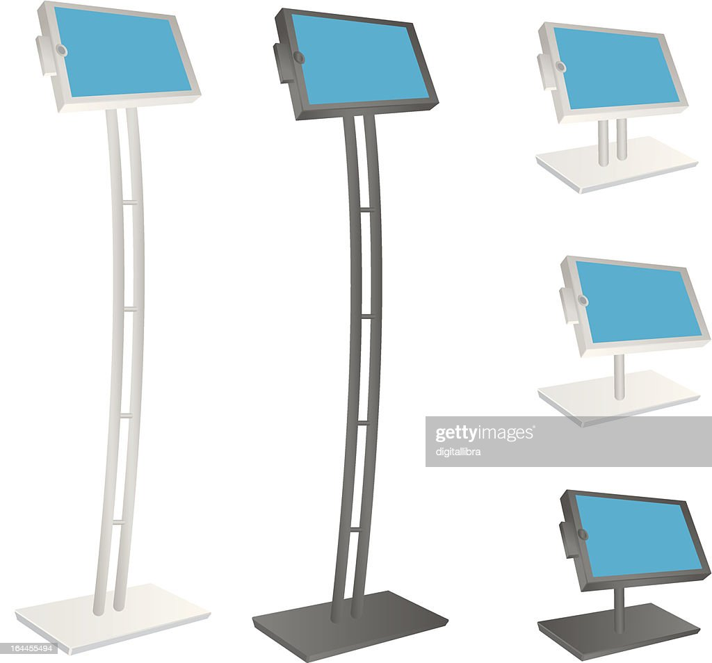 Elongated and normal-sized tablet kiosk stands