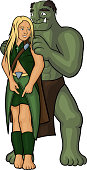 elven girl and orc
