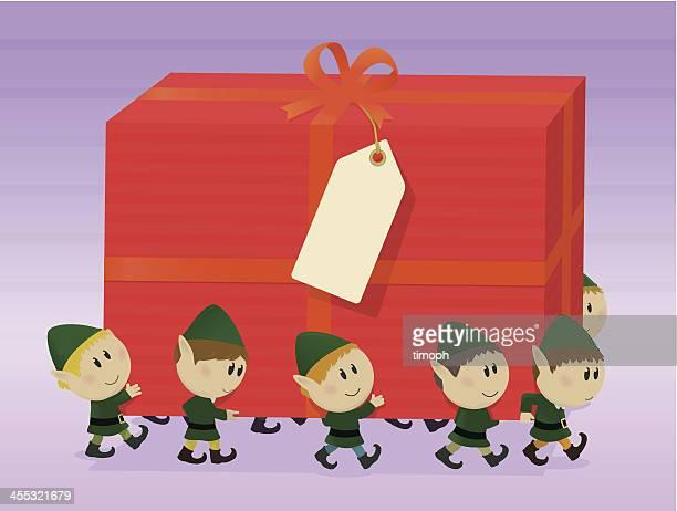 illustrations, cliparts, dessins animés et icônes de elfes et des grands cadeaux - lutin