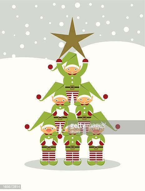 ilustraciones, imágenes clip art, dibujos animados e iconos de stock de elves'árbol de navidad - chuwy