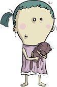Emaciated girl holding a shabby bear doll