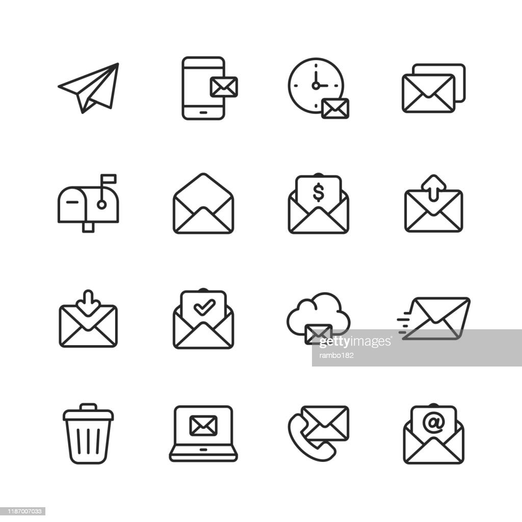Email and Messaging Line Icons. Editable Stroke. Pixel Perfect. For Mobile and Web. Contains such icons as Email, Messaging, Text Messaging, Communication, Invitation, Speech Bubble, Online Chat, Office. : Stock Illustration