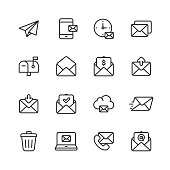 Email and Messaging Line Icons. Editable Stroke. Pixel Perfect. For Mobile and Web. Contains such icons as Email, Messaging, Text Messaging, Communication, Invitation, Speech Bubble, Online Chat, Office.
