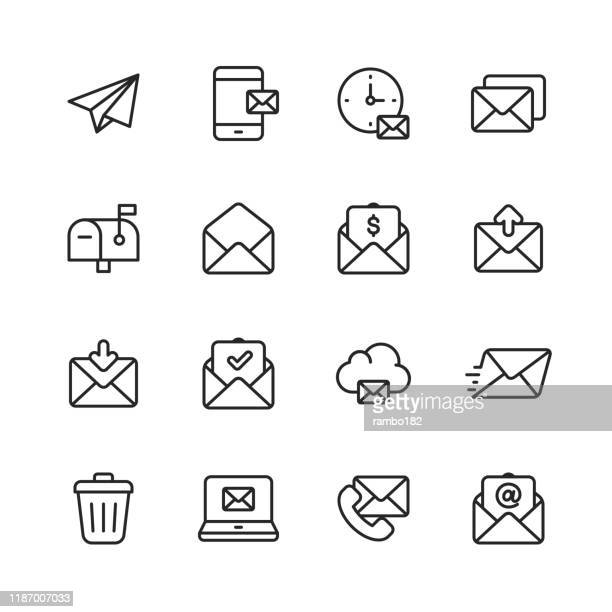 email and messaging line icons. editable stroke. pixel perfect. for mobile and web. contains such icons as email, messaging, text messaging, communication, invitation, speech bubble, online chat, office. - e mail inbox stock illustrations