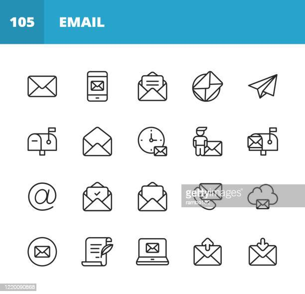 email and messaging line icons. editable stroke. pixel perfect. for mobile and web. contains such icons as email, messaging, text messaging, communication, invitation, speech bubble, online chat, office, social media, remote work, work from home. - e mail inbox stock illustrations