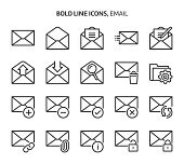 Email, bold line icons
